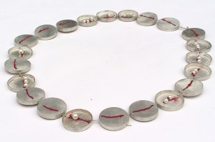 Silver, thread, pearls
